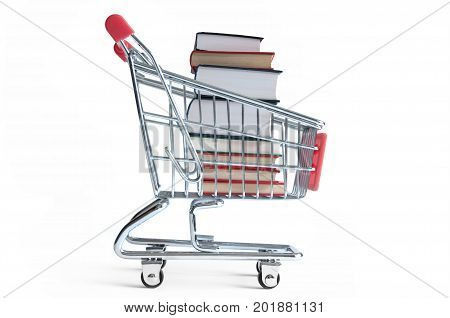 Large stack of books inside a shopping cart