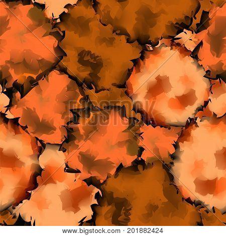 Orange Black Seamless Watercolor Texture Background. Incredible Abstract Orange Black Seamless Water