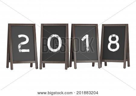 Wooden Menu Blackboard Outdoor Displays with 2018 Year Sign on a white background. 3d Rendering