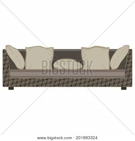 Vector modern sofa flat icon isolated. Furniture luxury front view elegant. Colorful comfort decor decorate elegance elegant trendy single. Loft interior living lounge home studio room style white.