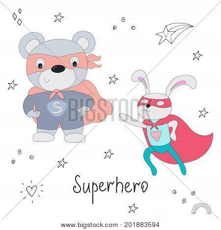 Cute hand drawn superhero teddy bear and rabbit animal vector illustration.