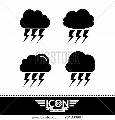 an images of Or pictogram cloud with thunder icon