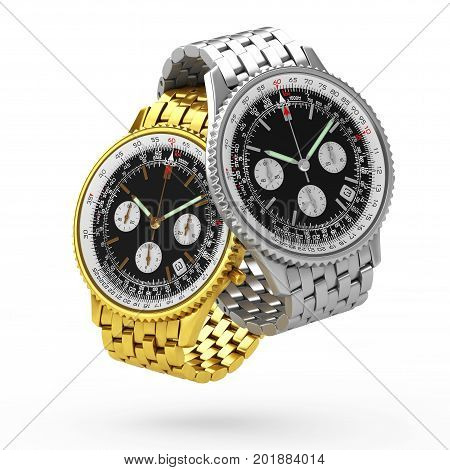 Luxury Classic Analog Men's Wrist Golden and Silver Watches on a white background. 3d Rendering
