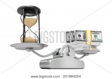 Sand Hourglass with Money Balancing on a Simple Weighting Scale on a white background. 3d Rendering.