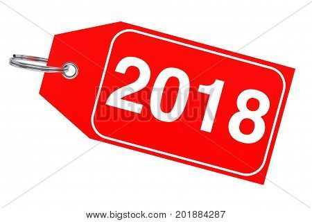 Winter Sale Concept. New Year 2018 Tag on a white background. 3d Rendering