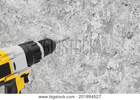 Yellow Rechargeable and Cordless Drill Drilling Hole in the Concrete Wall with Copy Space for Yours Design extreme closeup. 3d Rendering