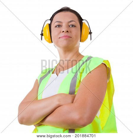 Attractive Woman Worker in Safety Jacket and Protective Ear Headphones in Like a Boss Pose on a white background