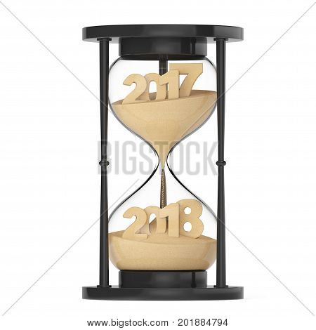New 2018 Year Concept. Sand Falling in Hourglass Taking the Shape from 2017 to 2018 year on a white background. 3d Rendering