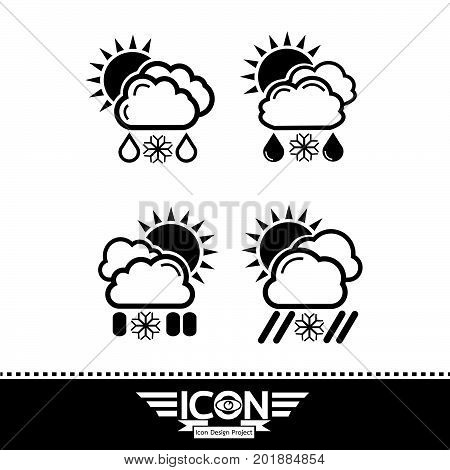 an images of Or pictogram cloud rain sun snow icon
