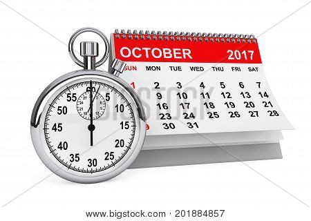 2017 year calendar. October calendar with stopwatch on a white background. 3d rendering