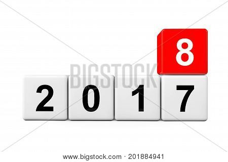 Blocks with the transition from year 2017 to 2018 on a white background. 3d Rendering