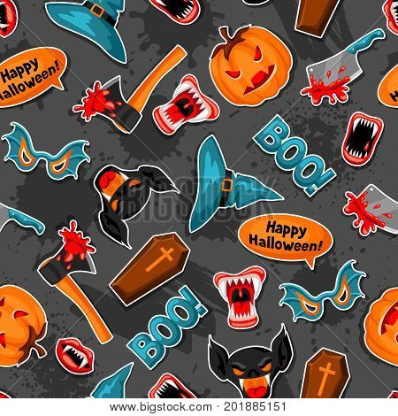 Happy Halloween seamless pattern with cartoon holiday sticker symbols.