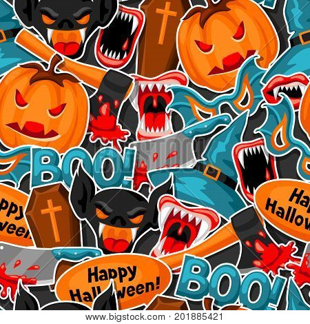 Happy Halloween seamless pattern with cartoon holiday sticker symbols.