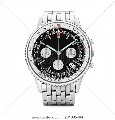 Luxury Classic Analog Men's Wrist Silver Watch on a white background. 3d Rendering