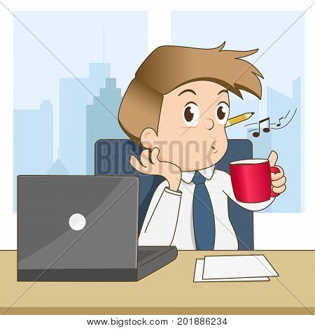 Happy businessman whistling and drinking coffee in office