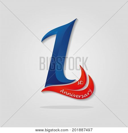 One Years Anniversary Celebration Logotype. 1St Anniversary Logo