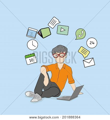 man with laptop, with icons floating around his head. vector illustration