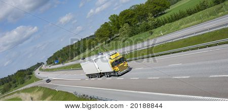 truck on highway, panoramic -composition
