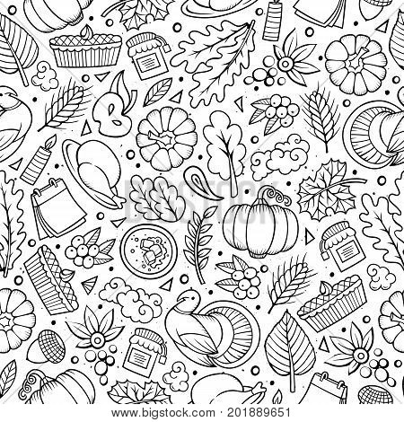 Cartoon cute hand drawn Thanksgiving seamless pattern. Line art detailed, with lots of objects background. Endless funny vector illustration. Contour backdrop with autumn items.