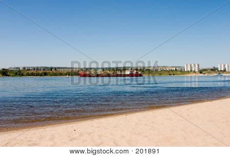 Dry Cargo Ship On Volga River Russia