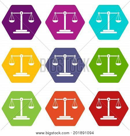 Scales balance icon set many color hexahedron isolated on white vector illustration