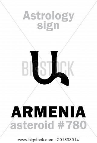Astrology Alphabet: ARMENIA, asteroid #780. Hieroglyphics character sign (single symbol).