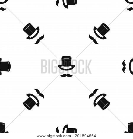 Magic black hat and mustache pattern repeat seamless in black color for any design. Vector geometric illustration