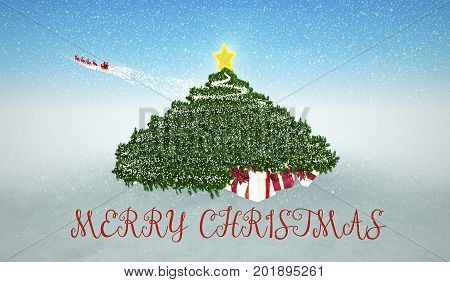 Snowy Christmas Background. Gifts under Christmas Tree and flying Santa at the background.