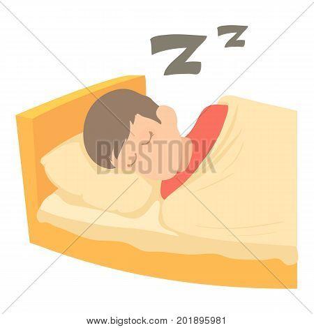 Boy sleeping icon. Cartoon illustration of boy sleeping vector icon for web