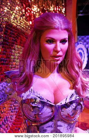 LAS VEGAS - OCT 28 : A waxwork of Shania Twain at The Madame Tussauds museum in Las Vegas on October 28 2014 , The two-floor 30,000-square-foot museum has 100-plus wax replicas.