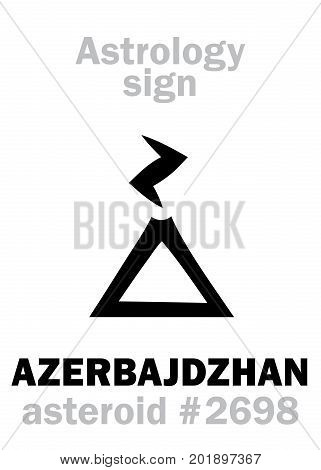 Astrology Alphabet: AZERBAJDZHAN, asteroid #2698. Hieroglyphics character sign (single symbol).