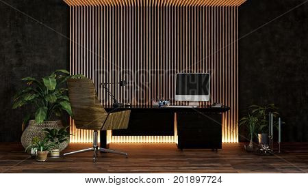 Stylish modern office or study with up lighters illuminating a feature striped textured wall with a desk, computer, houseplants and chair. 3d Rendering.