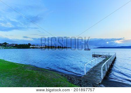 Beautiful Lake Taupo at sunset North Island of New Zealand