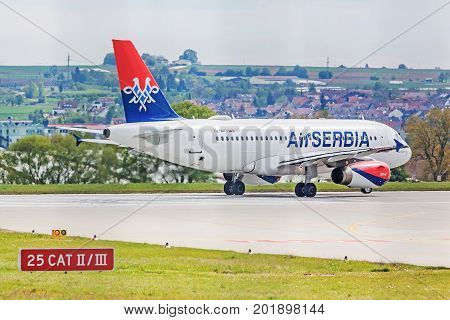 Airbus A319 From Air Serbia At Runway Before Takeoff