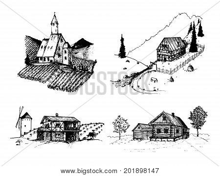 Vector farm landscapes illustrations set. Sketches of vineyard, abbey, agricultural homestead in mountains, fields and hills. Hand drawn russian countryside.