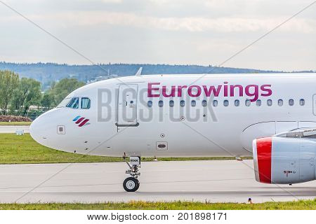 Airplane Cockpit, Eurowings Airline Before Take Off, Airport Stuttgart, Germany