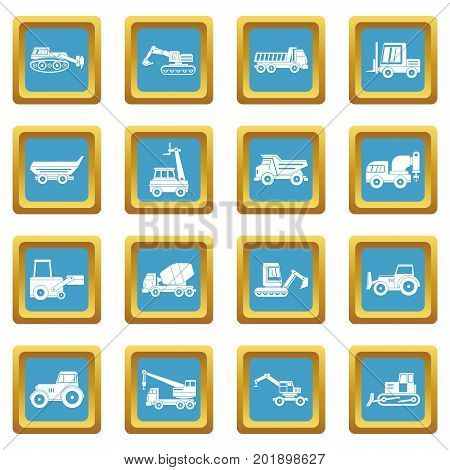Building vehicles icons set in azur color isolated vector illustration for web and any design