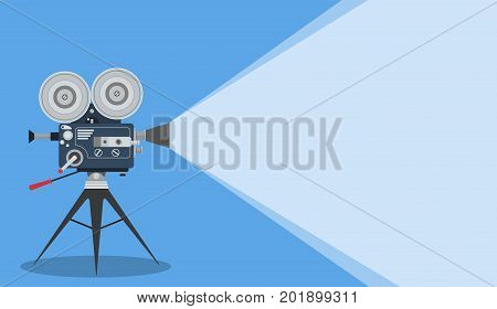 Retro cinema Video Camera with text place. movie poster, placard banner for film. Vector illustration in flat style