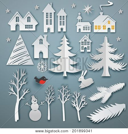 Christmas paper art elements set. Vector icon illustration. White paper cut layers. Winter with house, trees, hare, star, bulfinch, snowman and christmas tree. Holidays symbols for retro design