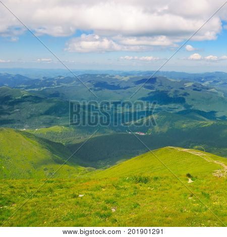Mountain peaks of the Carpathians and blue sky