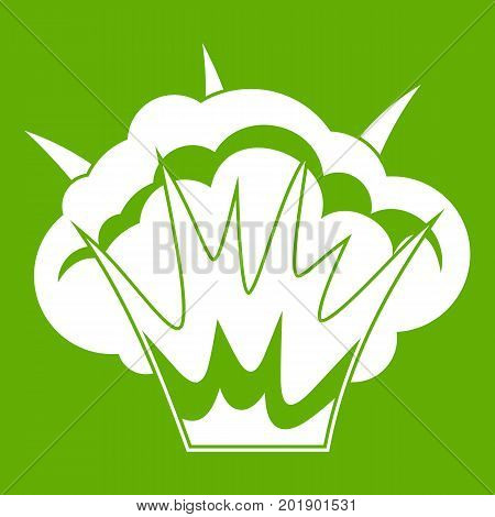Projectile explosion icon white isolated on green background. Vector illustration