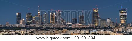 Panoramic view of Warsaw city downtown during the night Poland