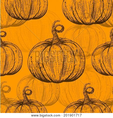 Yellow Seamless pattern with pumpkins. Sketch vector illustrtaion. Engraving styled pumpkin. Layered design for textile and paper prints
