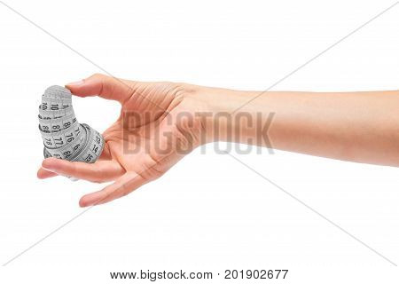 Centimeter In Hand Isolated On White Background