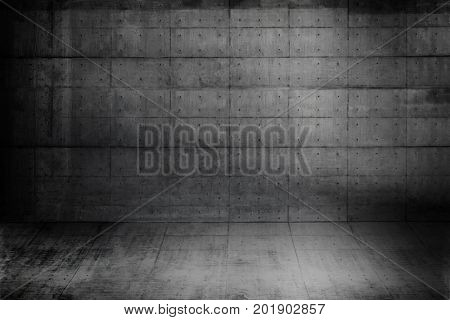 Huge concrete space. Large raw concrete compound or room.