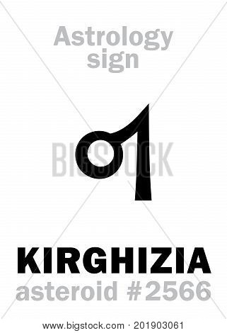 Astrology Alphabet: KIRGHIZIA, asteroid #2566. Hieroglyphics character sign (single symbol).