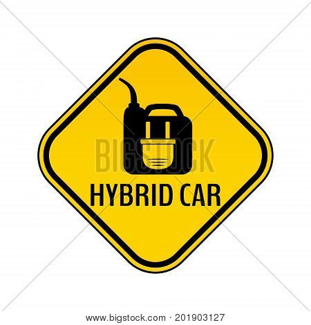 Hybrid car caution sticker. Save energy automobile warning sign. Electric plug on fuel canister icon in yellow and black rhombus to a vehicle glass. Vector illustration.