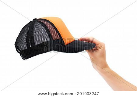 Black Cap In Hand Isolated On White Background