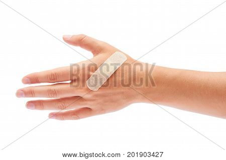 Adhesive Plaster In Hand Isolated On White Background
