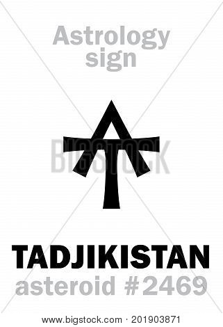 Astrology Alphabet: TADJIKISTAN, asteroid #2469. Hieroglyphics character sign (single symbol).